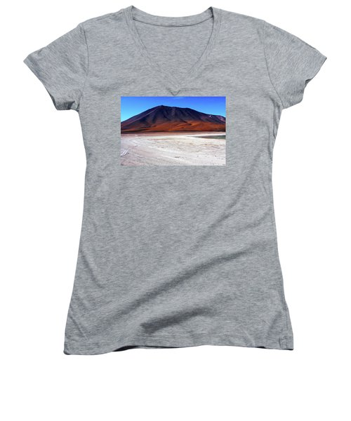 Women's V-Neck T-Shirt (Junior Cut) featuring the photograph Bolivian Altiplano, South America by Aidan Moran