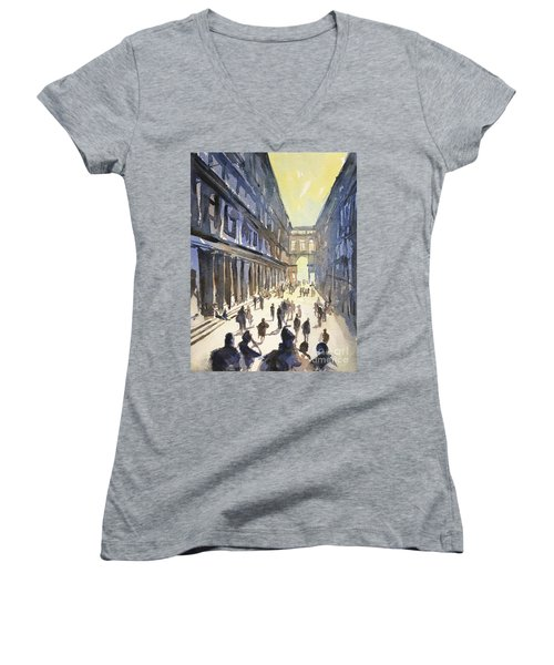 Women's V-Neck T-Shirt (Junior Cut) featuring the painting Bologna Sunset- Italy by Ryan Fox