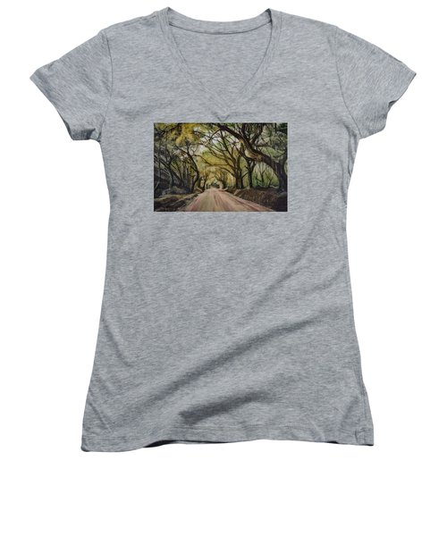 Women's V-Neck T-Shirt (Junior Cut) featuring the painting Bombay Road by Ron Richard Baviello
