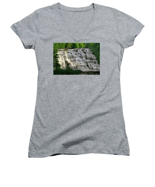 Women's V-Neck T-Shirt (Junior Cut) featuring the photograph Bond Falls - Haight - Michigan 001 by George Bostian