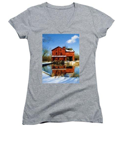 Bonneyville In Winter Women's V-Neck T-Shirt