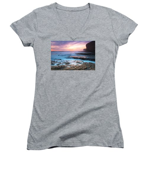Women's V-Neck T-Shirt (Junior Cut) featuring the photograph Bonny Doon Beach by Catherine Lau