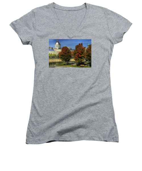 Women's V-Neck T-Shirt (Junior Cut) featuring the photograph Bonsecours Market by Nicola Nobile