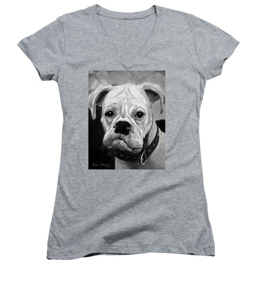 Boo The Boxer Women's V-Neck (Athletic Fit)