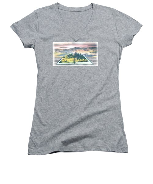 Women's V-Neck featuring the painting Book Life by Harry Warrick