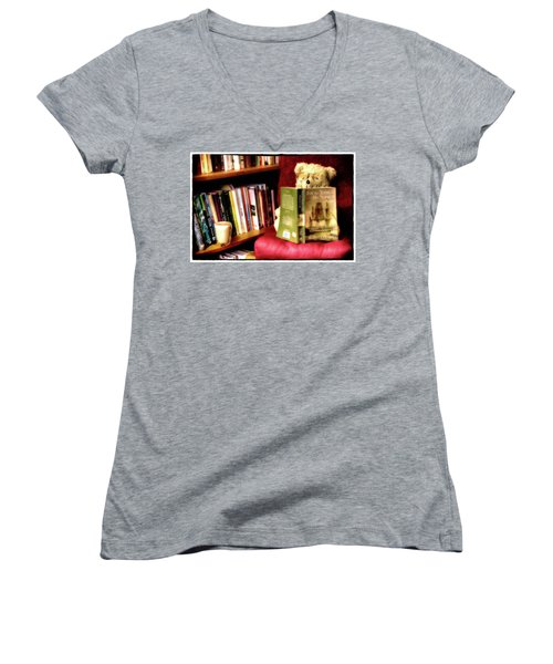 Bookworm Ted Women's V-Neck T-Shirt
