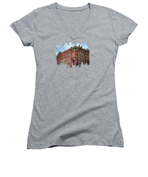 Boomtown Saloon Jacksonville Oregon Women's V-Neck T-Shirt (Junior Cut) by Thom Zehrfeld