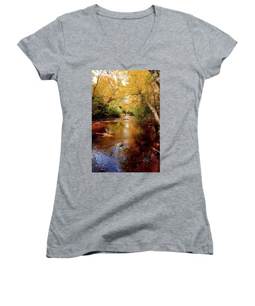Women's V-Neck T-Shirt (Junior Cut) featuring the photograph Boone Fork Stream by Meta Gatschenberger