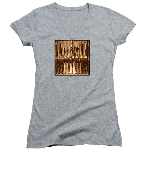Boot Rack Women's V-Neck T-Shirt (Junior Cut) by American West Legend By Olivier Le Queinec