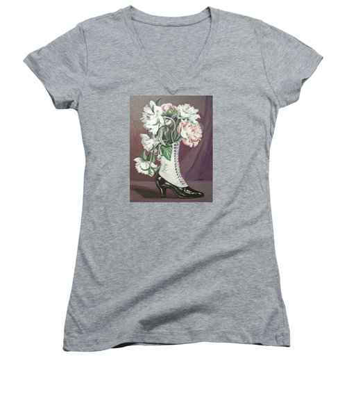 Women's V-Neck T-Shirt (Junior Cut) featuring the painting Booted Peonies by Laura Aceto