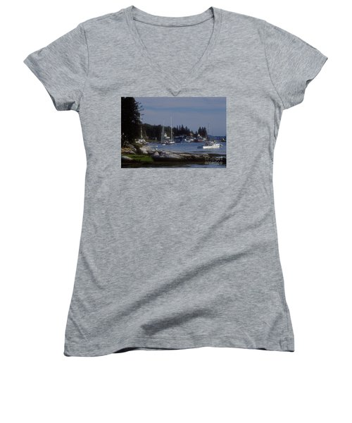 Boothbay Harbor In Maine Women's V-Neck (Athletic Fit)