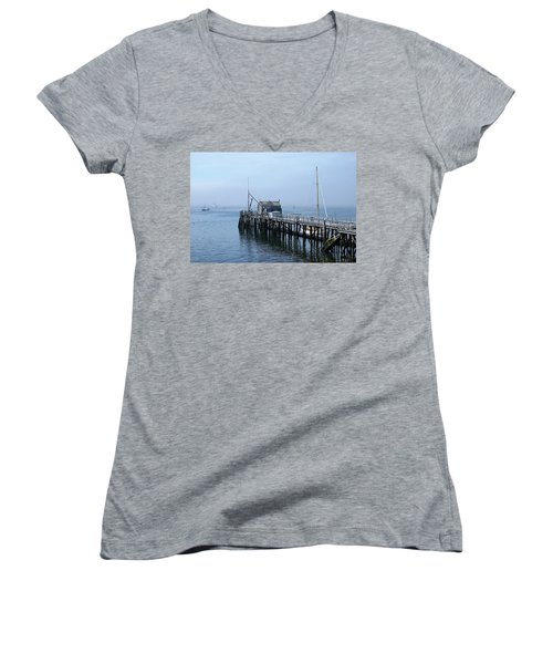 Boothbay Shipyard Dock Women's V-Neck T-Shirt (Junior Cut)