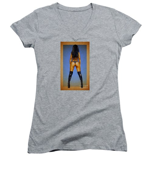 Booty Women's V-Neck T-Shirt (Junior Cut) by Brian Gibbs