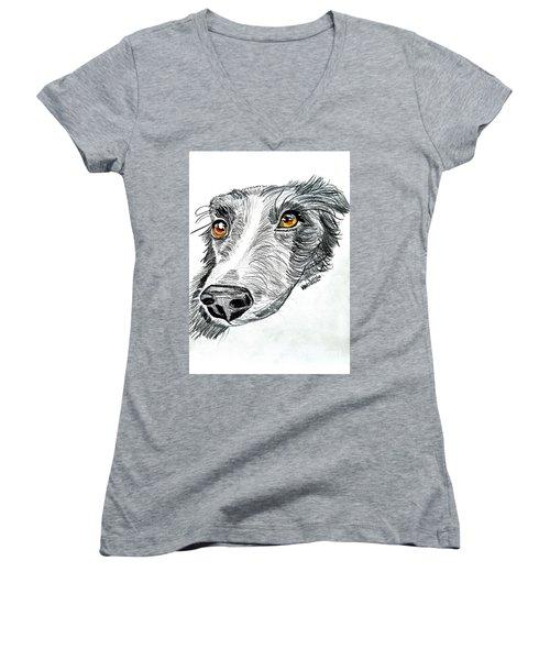 Border Collie Dog Colored Pencil Women's V-Neck T-Shirt (Junior Cut) by Scott D Van Osdol
