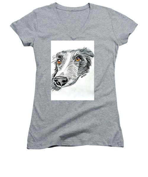 Border Collie Dog Colored Pencil Women's V-Neck T-Shirt