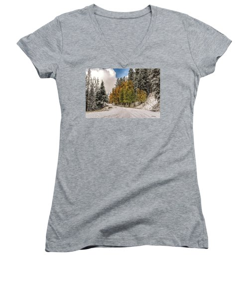 Boreas Pass Road Aspen And Snow Women's V-Neck (Athletic Fit)