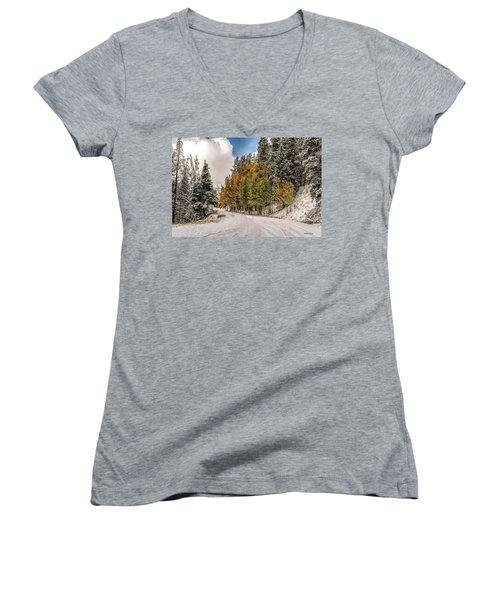 Boreas Pass Road Aspen And Snow Women's V-Neck T-Shirt