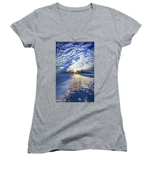 Women's V-Neck T-Shirt (Junior Cut) featuring the photograph Born As We Are by Phil Koch