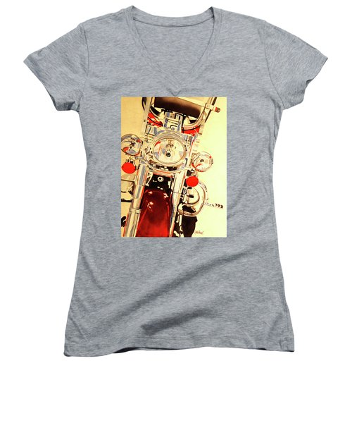 Women's V-Neck T-Shirt (Junior Cut) featuring the painting Born To Be Wild by Cynthia Powell