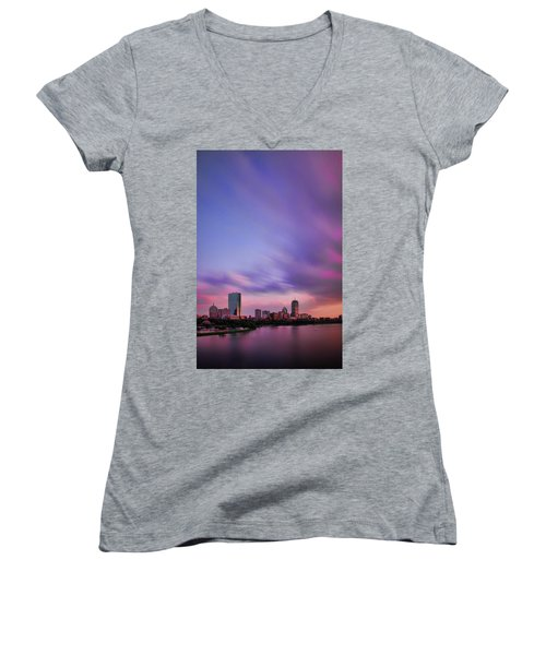 Boston Afterglow Women's V-Neck T-Shirt (Junior Cut) by Rick Berk
