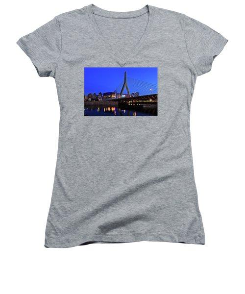 Boston Garden And Zakim Bridge Women's V-Neck T-Shirt (Junior Cut) by Rick Berk