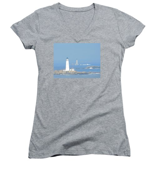 Boston Harbors Lighthouses Women's V-Neck T-Shirt (Junior Cut) by Catherine Gagne