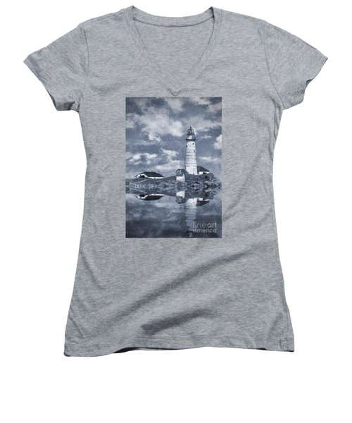 Women's V-Neck T-Shirt (Junior Cut) featuring the photograph Boston Light  by Ian Mitchell