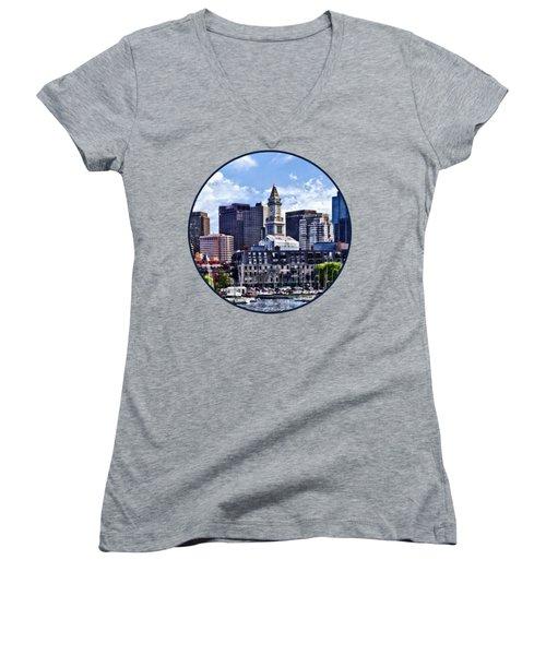 Boston Ma - Skyline With Custom House Tower Women's V-Neck