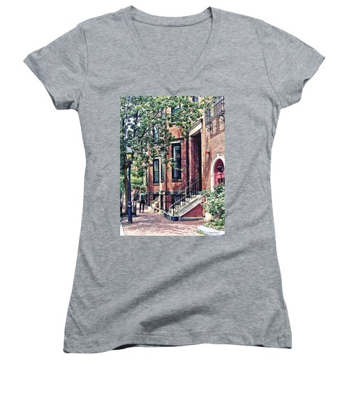 Boston Ma - Walking The Dog On Mount Vernon Street Women's V-Neck (Athletic Fit)