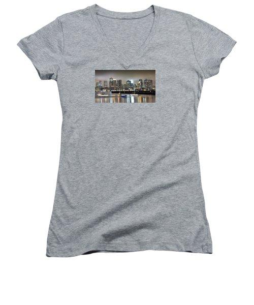 Boston Massachusetts Women's V-Neck T-Shirt (Junior Cut) by Brendan Reals