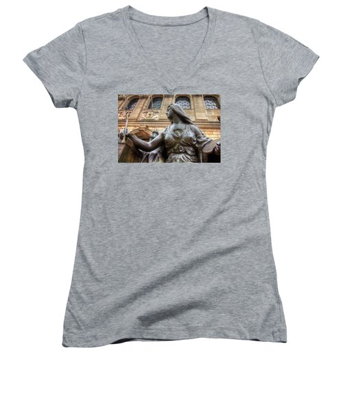 Women's V-Neck T-Shirt (Junior Cut) featuring the photograph Boston Public Library Lady Sculpture by Joann Vitali