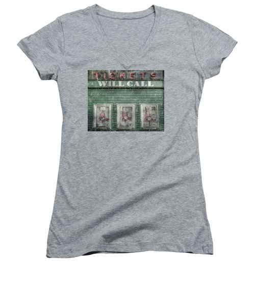 Women's V-Neck T-Shirt (Junior Cut) featuring the photograph Boston Red Sox Fenway Park Ticket Booth In Winter by Joann Vitali