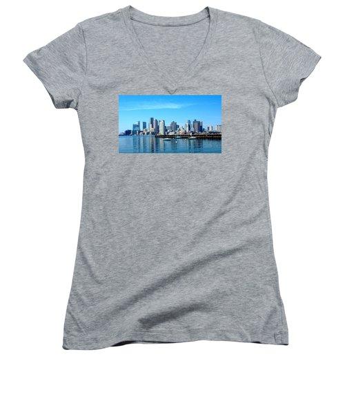 Boston Skyline A Women's V-Neck (Athletic Fit)