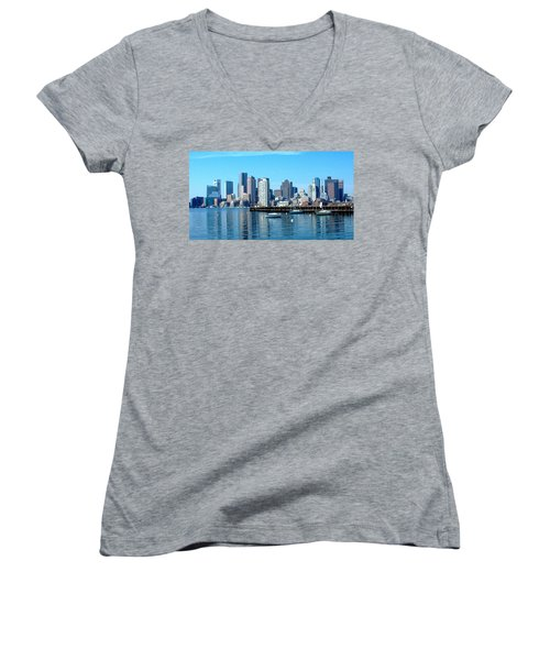 Boston Skyline B Women's V-Neck (Athletic Fit)