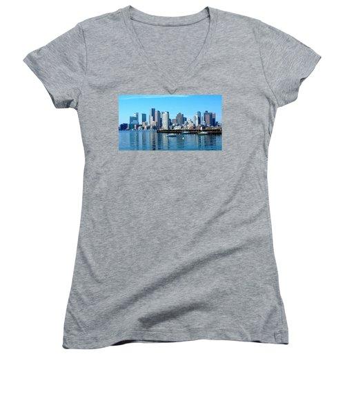 Boston Skyline C Women's V-Neck (Athletic Fit)