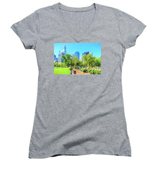 Boston Skyline From Columbus Park Women's V-Neck