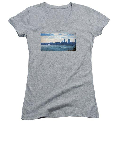 Boston Skyline From Deer Island Women's V-Neck
