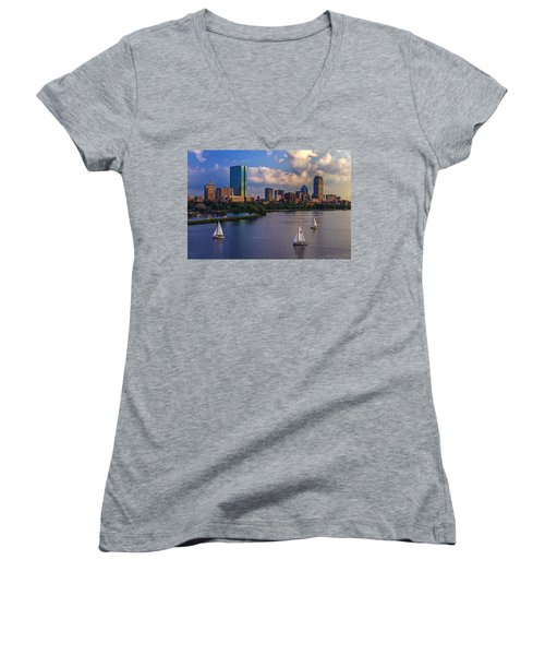 Boston Skyline Women's V-Neck (Athletic Fit)