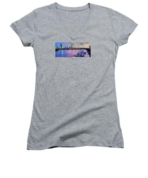 Boston Skyline Sunset Women's V-Neck T-Shirt (Junior Cut) by Joann Vitali