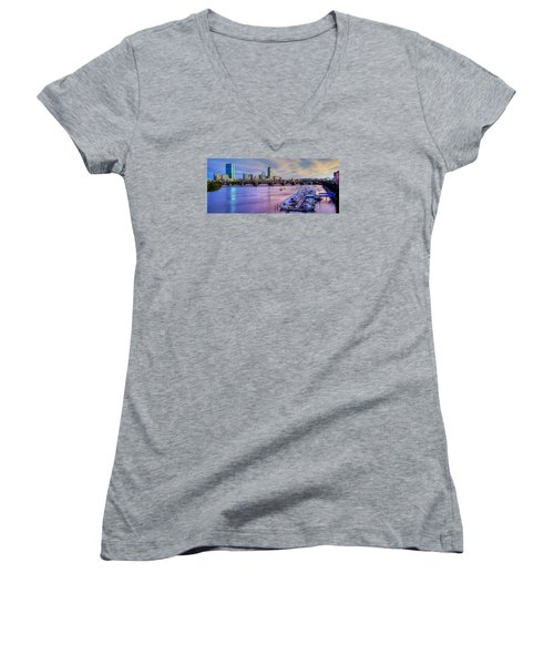 Boston Skyline Sunset Women's V-Neck T-Shirt (Junior Cut)