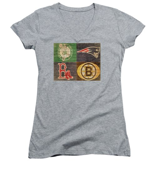 Women's V-Neck featuring the mixed media Boston Sports Teams Barn Door by Dan Sproul