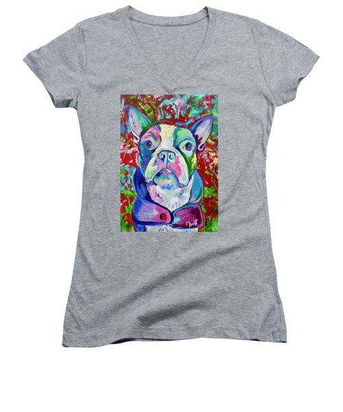 Boston Terrier Women's V-Neck T-Shirt