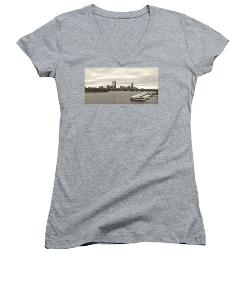 Women's V-Neck T-Shirt (Junior Cut) featuring the photograph Boston View by Raymond Earley