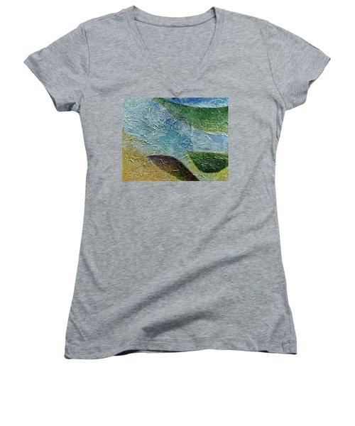 Women's V-Neck T-Shirt (Junior Cut) featuring the painting Botany I by John Hansen