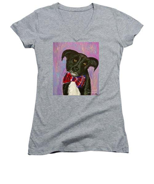 Bow Tie Boy Women's V-Neck T-Shirt (Junior Cut) by Ania M Milo