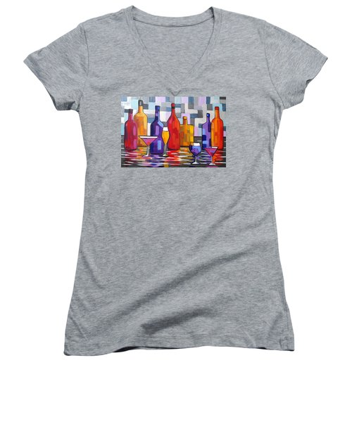Bottle Of Wine Women's V-Neck T-Shirt