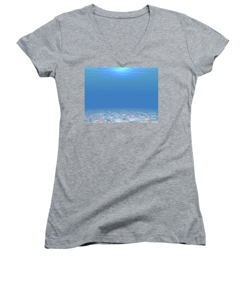 Women's V-Neck T-Shirt (Junior Cut) featuring the digital art Bottom Of The Sea by Phil Perkins