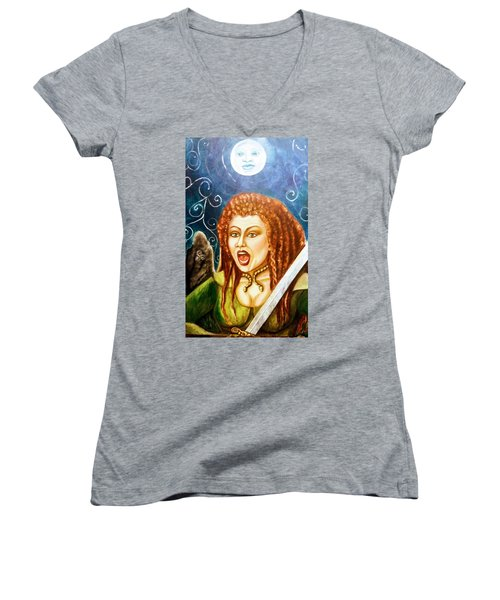 Boudicca  Let Not Our Daughters Be Forgotten Women's V-Neck (Athletic Fit)