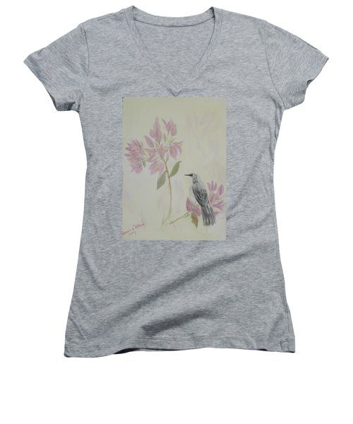 Bougainvillea And Mockingbird Women's V-Neck T-Shirt (Junior Cut) by Donna Walsh
