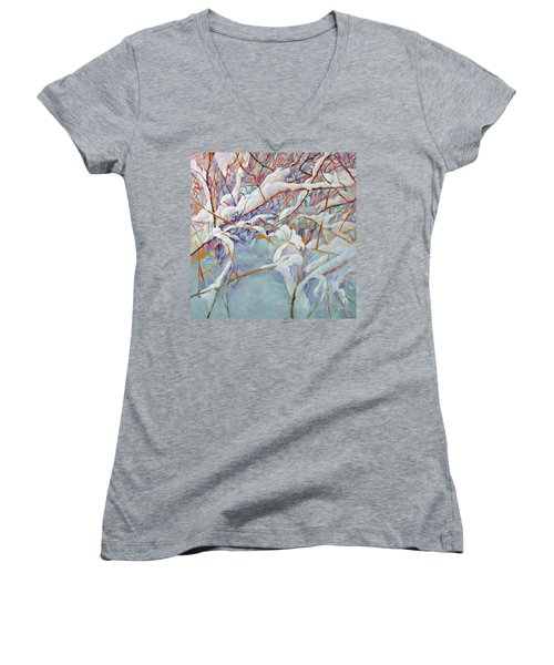 Women's V-Neck T-Shirt (Junior Cut) featuring the painting Boughs In Winter by Joanne Smoley